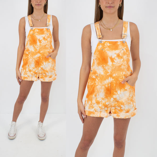 Orange Tie Dye Overalls - Size S/M