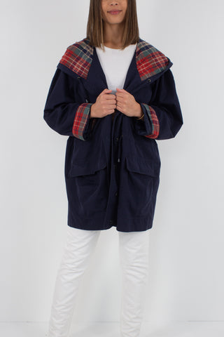 Navy Blue Check Hooded Jacket - One Size Fits Most