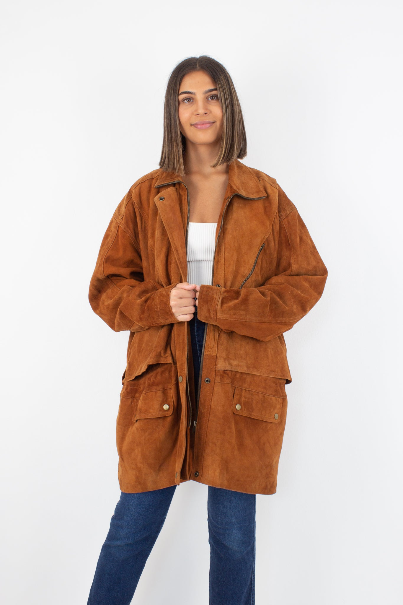 Oversized Brown Suede Leather Jacket - Unisex - L/XL