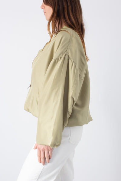 Pale Green Silk Bomber Jacket - Free Size