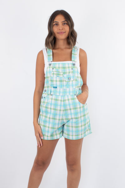 Blue & Green Check Denim Overalls - 2 Sizes XS/S & S/M
