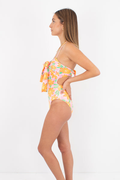 80s/90s Pink & Orange Floral Halter & Strapless One Piece Swimsuit - Size XS & S