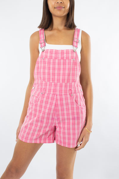 Pink & White Check Overalls - Size S