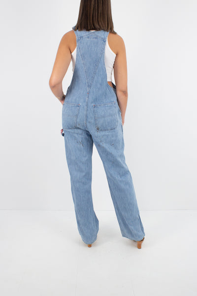 Polo Jeans Ralph Lauren Light Blue Long Denim Overalls - Size M