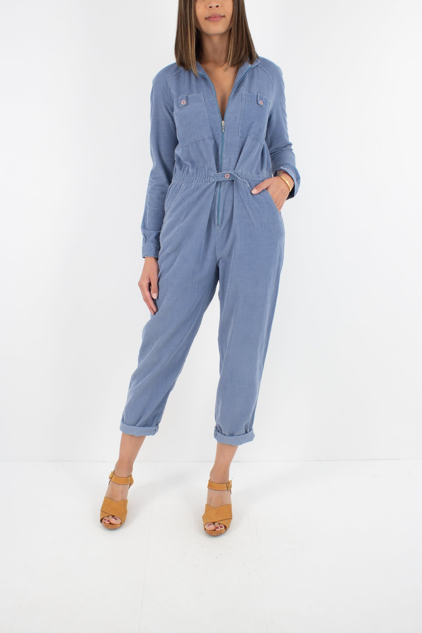 Powder Blue Cord Jumpsuit - Size M