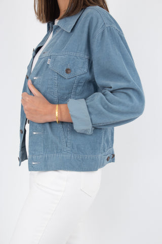Levis Cord Jacket - Powder Blue - Size XS/S/M