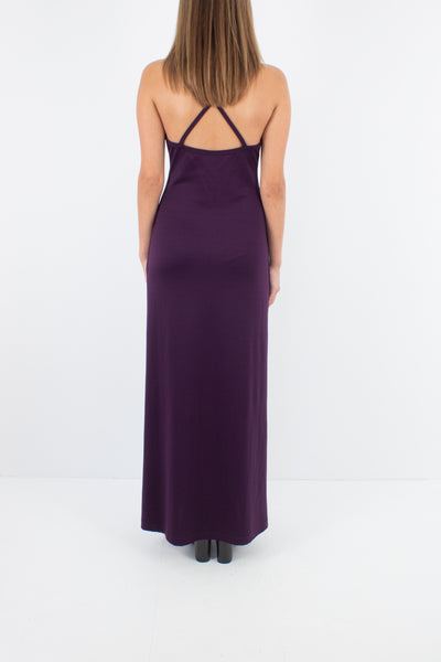 90s Purple Slinky Maxi Dress with Cross Back - Size M