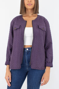 Purple Silk Quilted Jacket - Size L