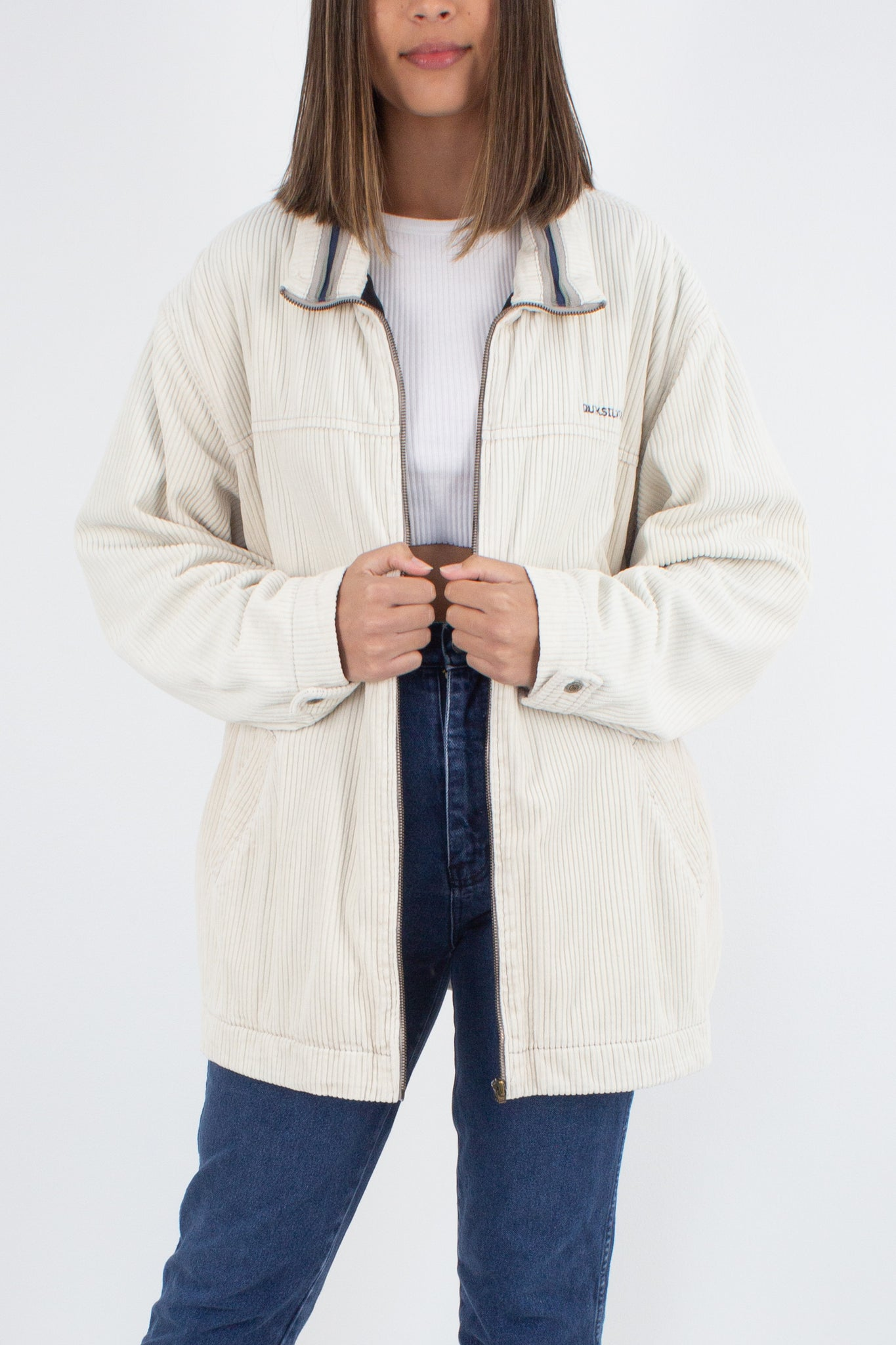 90s Quicksilver Cream Cord Zip Up Jacket - Unisex - Free Size