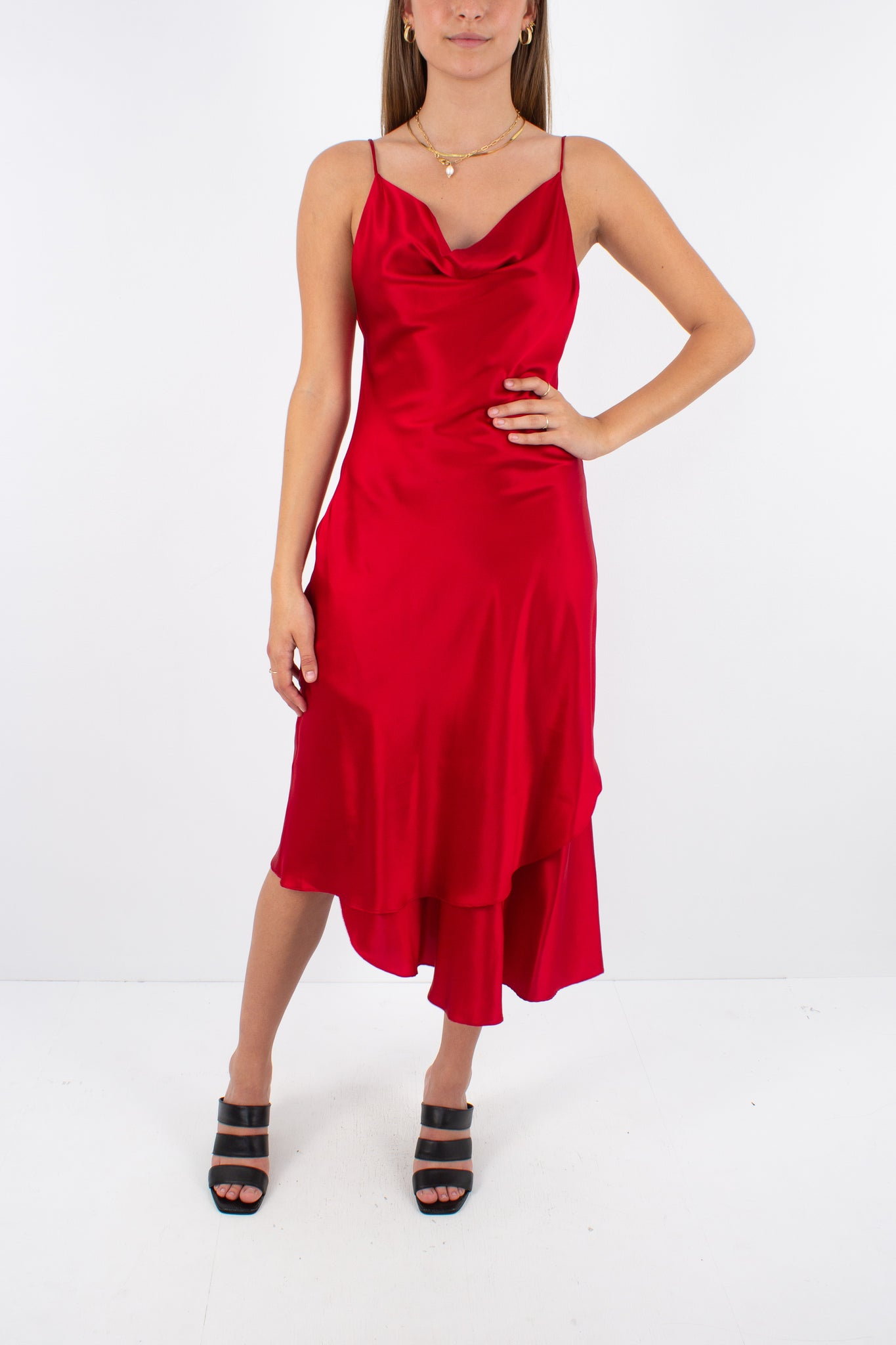 Asymmetrical Red Silk Midi Dress with Cowl Neckline - Size XS/S