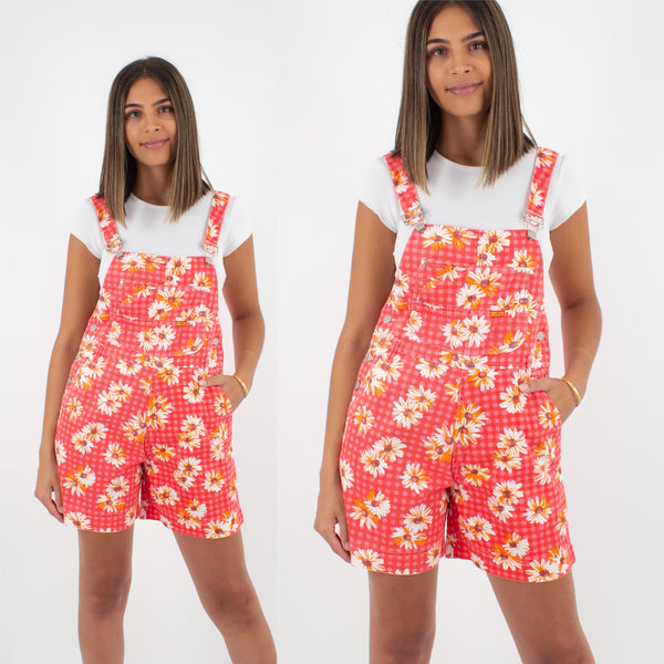Red Check Overalls with Daisies - Size S