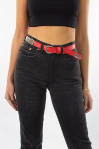 Red Leather Belt with Silver Buckle & Hardware Links
