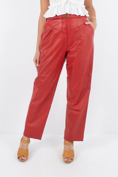 "Bright Red Leather High Waist Pants - Size 29"" / M"