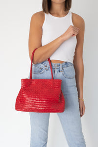 Red Leather Woven Bag
