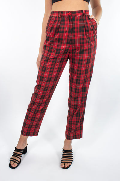 "Red & Black Ginham Check Pant - Size XS/S 25""-27"""