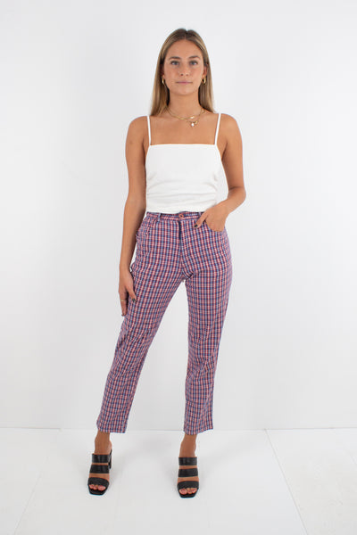 Red & Blue Check Plaid Pants - Tapered Leg - Size XS / 24""