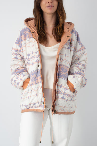 Reversible Peach Print Hooded Jacket - Free Size