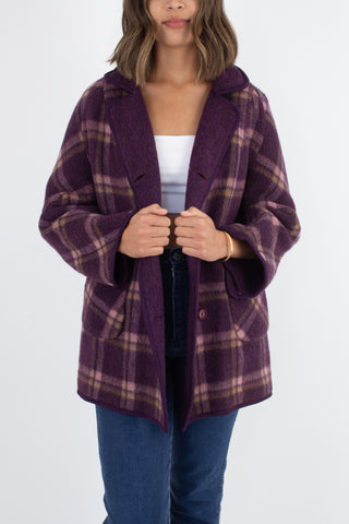 1960s Reversible Purple Check Wool Jacket - Free Size