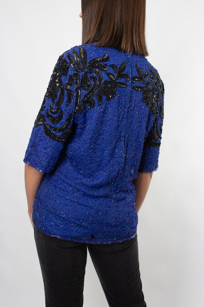 Sequinned Silk Blouse in Blue & Black - Size XS/S/M