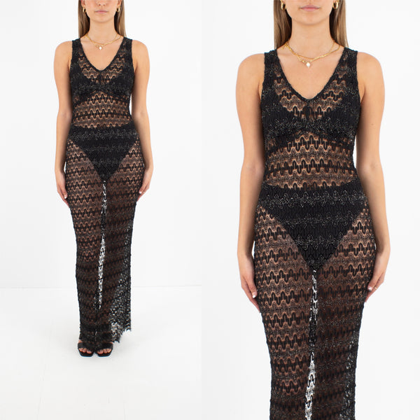 Sheer Black Lace Maxi Dress with Lurex Detail - Size S