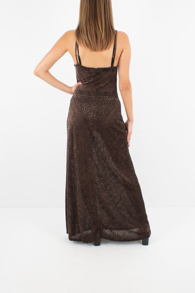 Sheer Brown Velvet Burnout Maxi Dress - Size S/M