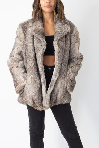 Silver Grey Fur Coat - Size L/XL