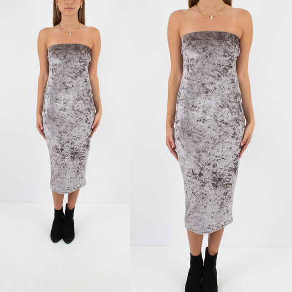Silver Strapless Stretch Velvet Midi Dress - Size S / M