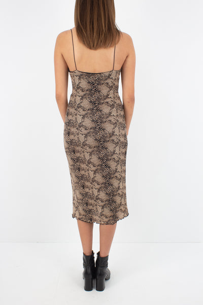 Snakeskin Print Stretch Midi Dress - Size XS/S