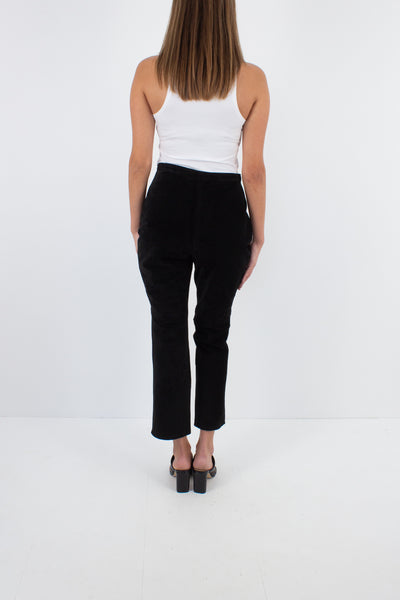 Black Cropped Suede Leather Pants - High Waist - Size S / 26""