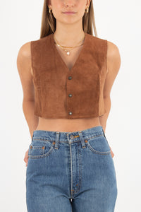 Brown Suede Leather Cropped Vest - Size XS/S