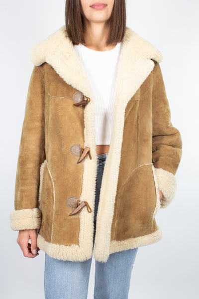 Tan Sheepskin Leather Shearling Coat - Free Size