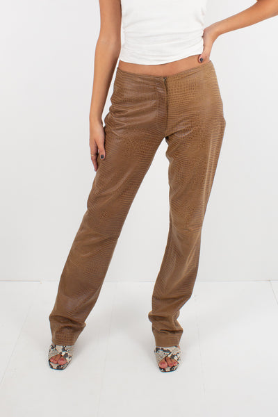 Y2K Tan Snakeskin Embossed Leather Pants - Mid Rise - Size S / 28""