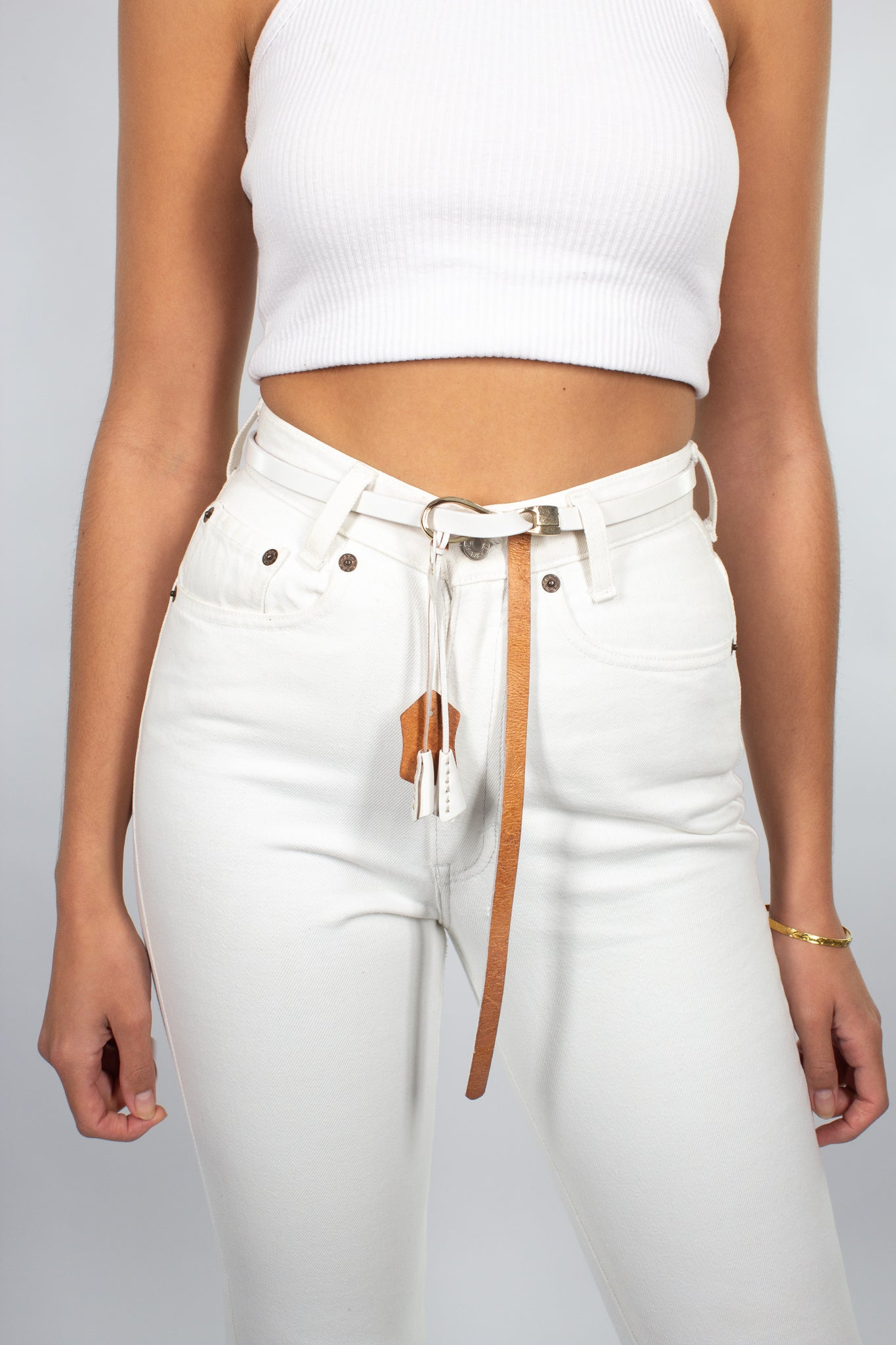 Thin White Leather Belt
