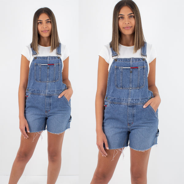 Tommy Hilfiger Short Denim Overalls - Mid-Dark Blue - Size S