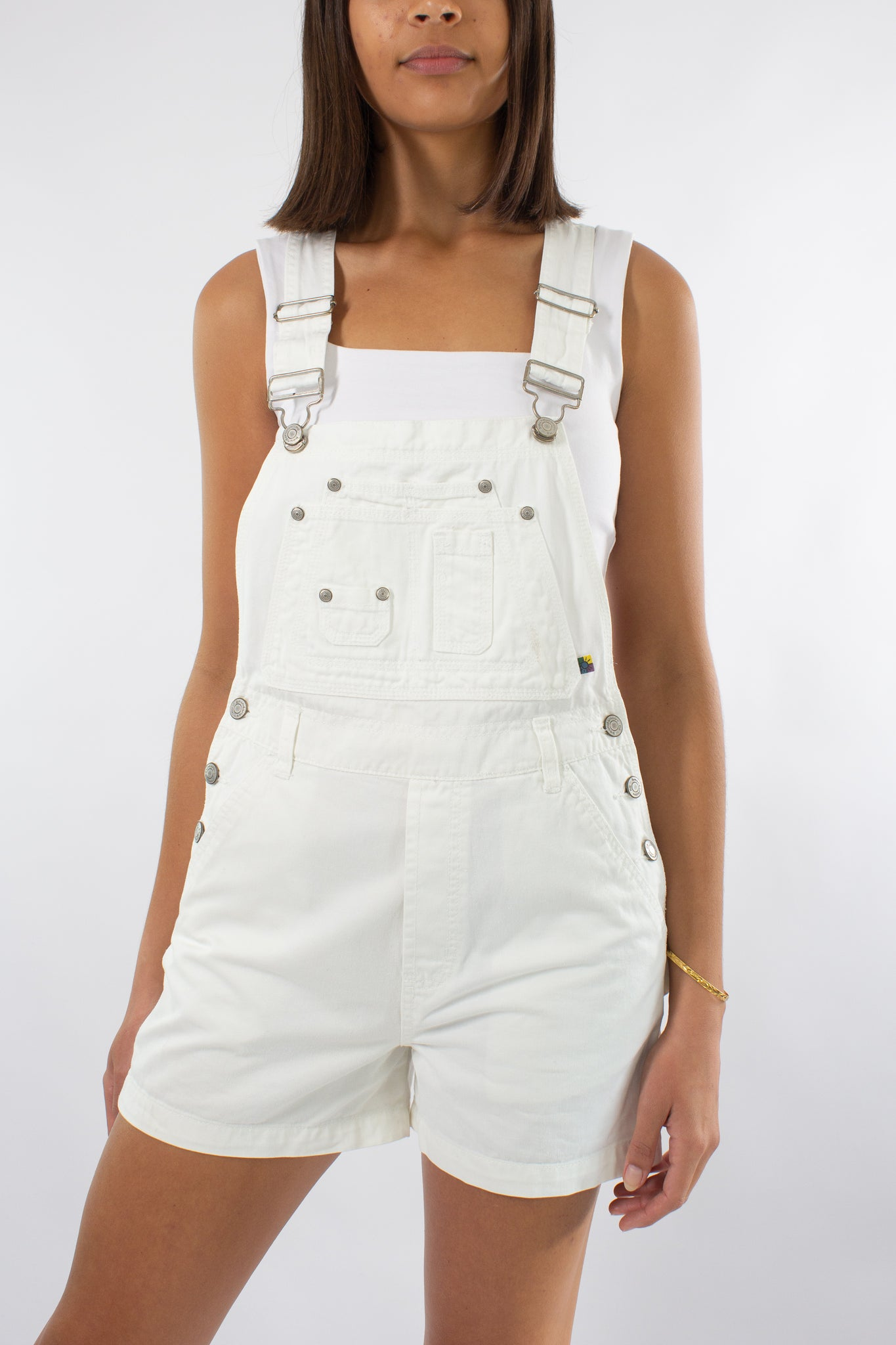 White Denim Overalls - Size S