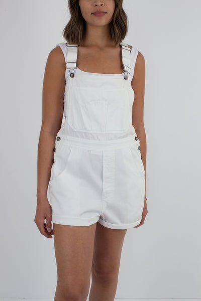 White Denim Overalls X Back - Size M