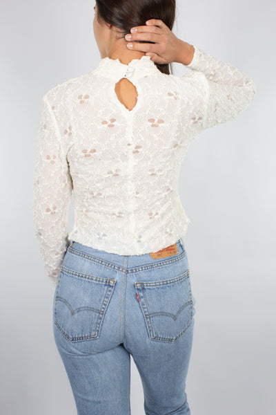 White Lace Long Sleeve Top - Size XS/S