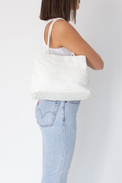 White Leather Woven Bag