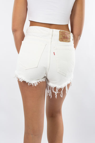 White Levis Denim Shorts - 505 Red Tab - Size M / 10 / 28""