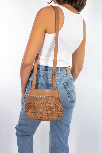 Woven Leather Bag in Tan