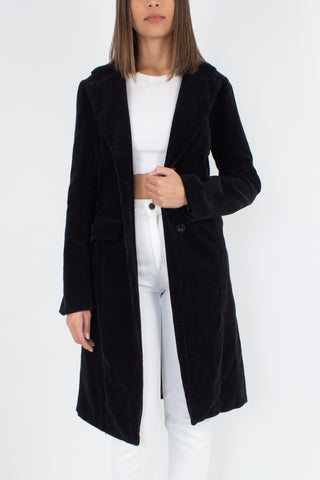 Y2K Black Knee Length Cord Jacket - Size S/M