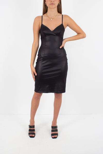 Y2K Shiny Black Body Con Dress - Size XS/S