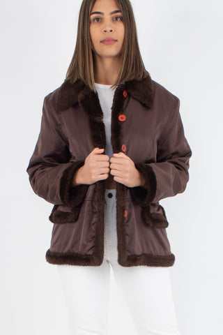 Y2K Shiny Brown Jacket with Faux Fur Trim - Size M/L