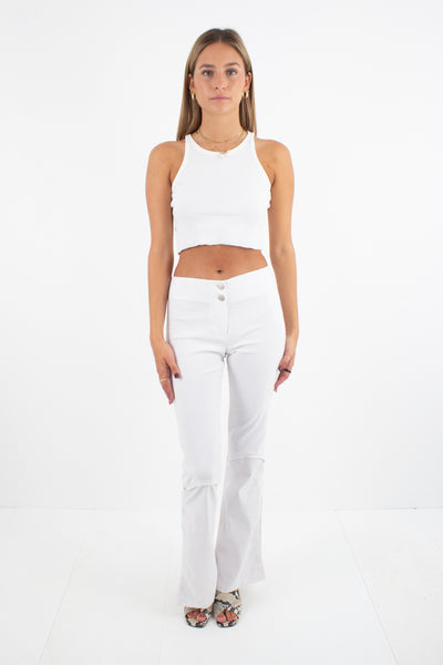 Y2K Stretch White Pants with Splits - Bootcut Leg - Size XS/S
