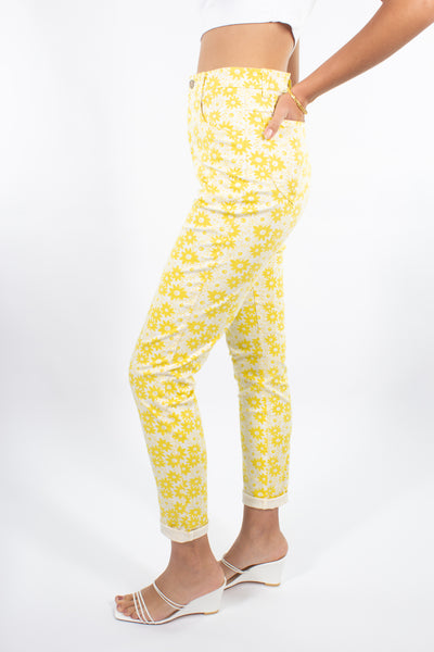 Yellow Stretch Jeans in Daisy Print - Size S / 26""