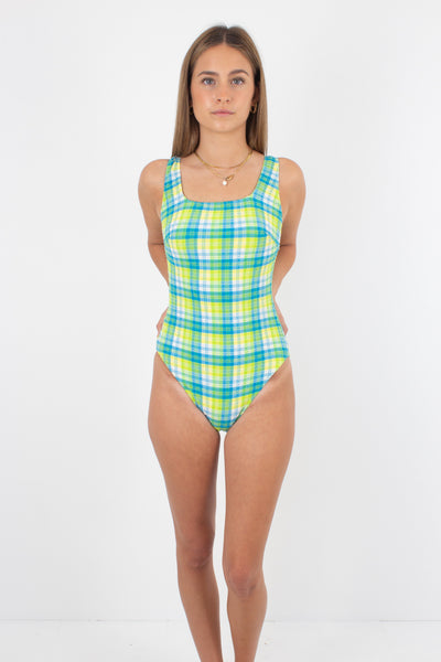 80s/90s Green & Yellow Plaid Check One Piece Swimsuit - Size XS & S