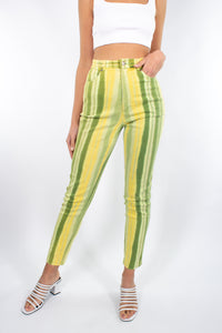 Yellow & Green Stripe High Waist Stretch Jeans - Size XS/S 25""