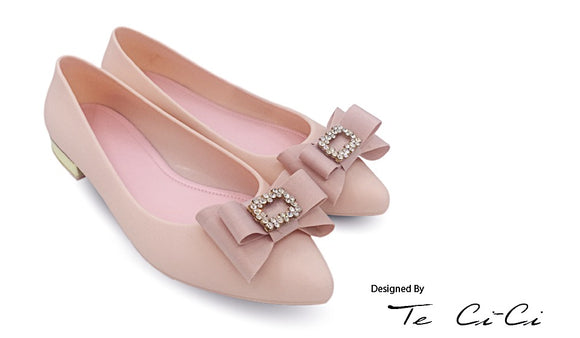 Pointed Head Jelly Flats With Gem Bow
