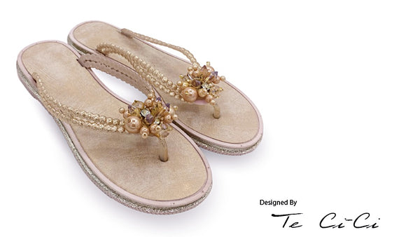 Jelly Sandals With Crystals & Pearls