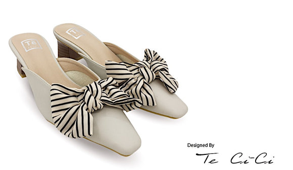 Half Heels Sandals With Stripes Bow